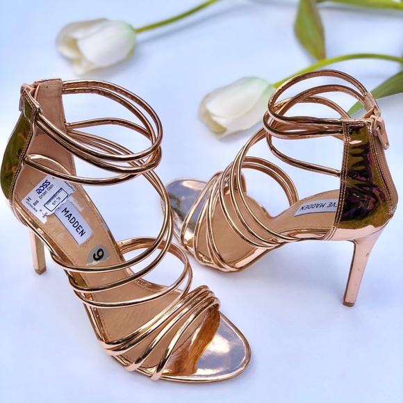 965370b0f15 Steve Madden Strappy copper heels